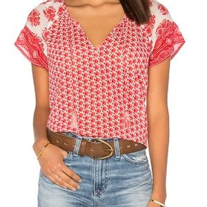 XS Soft Joie Dolan Top in Porcelain & Coral Reef